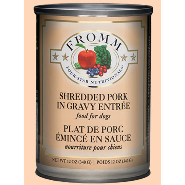 Fromm Four Star Shredded Pork in Gravy Canned Dog Food, 12 oz can