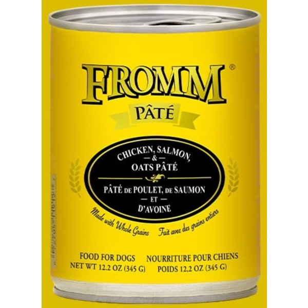 Fromm Chicken, Salmon & Oats Pate Canned Dog Food, 12.2 oz can