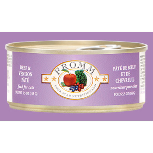 Fromm Four Star Beef & Venison Pate Cat Can Food, 5.5 oz can
