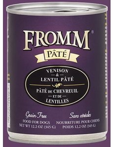 Fromm Venison & Lentil Pate Canned Dog Food, 12 oz can