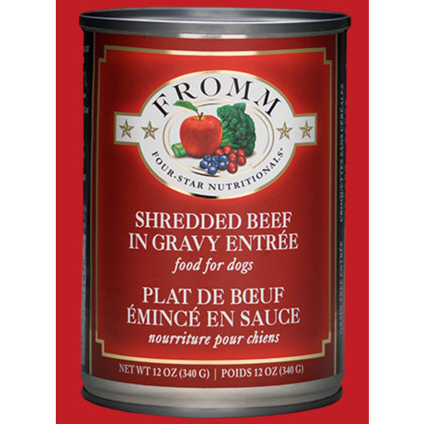 Fromm Four Star Shredded Beef in Gravy Canned Dog Food, 12 oz can