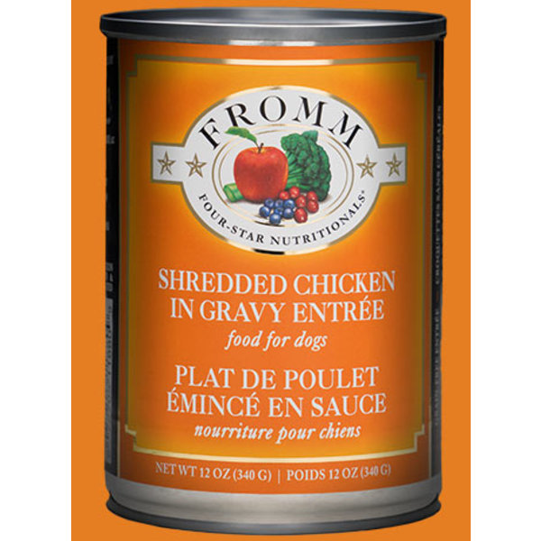 Fromm Four Star Shredded Chicken in Gravy Canned Dog Food, 12 oz can