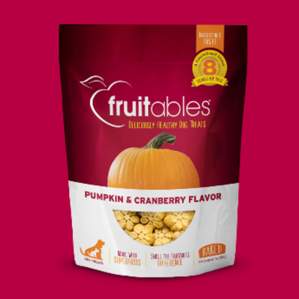 Fruitables Pumpkin & Cranberry Crunchy Dog Treats, 7 oz bag