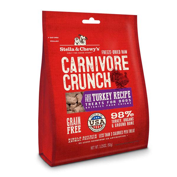 Stella & Chewy Carnivore Crunch Turkey Dog Treats, 3.25 oz bag
