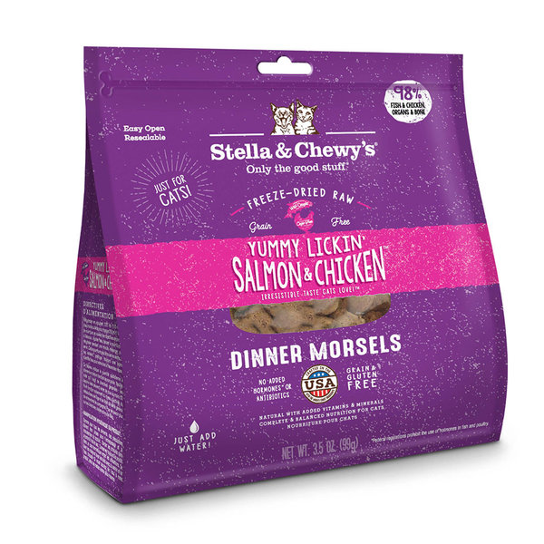 Stella & Chewy Morsels Freeze-Dried Raw Cat Food, Salmon & Chicken, 18 oz bag