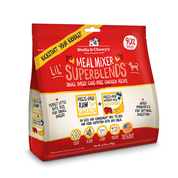 Stella & Chewy Meal Mixers Lil' Superblends Freeze-Dried Dog Food Topper, Chicken, 8 oz bag