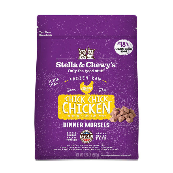 Stella & Chewy Morsels Frozen Raw Cat Food, Chicken, 1.25 lb bag