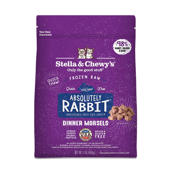 Stella & Chewy Morsels Frozen Raw Cat Food, Rabbit, 1 lb bag