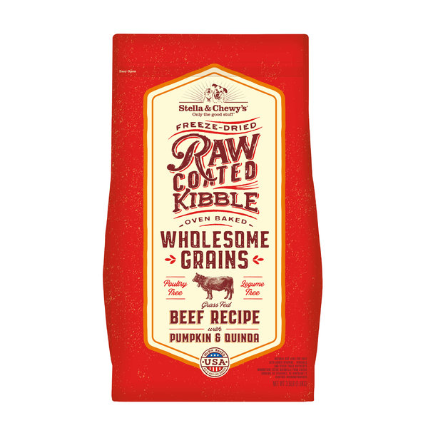 Stella & Chewy Raw Coated Kibble with Grains Dry Dog Food, Beef