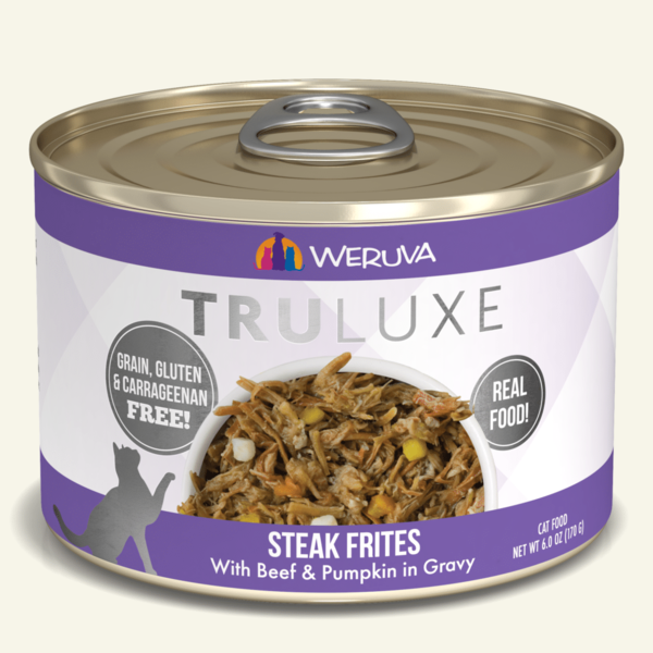 Weruva TruLuxe Canned Cat Food, Steak Frites, 6 oz can