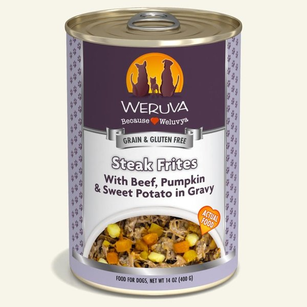 Weruva Classic Canned Dog Food, Steak Frites, 14 oz can