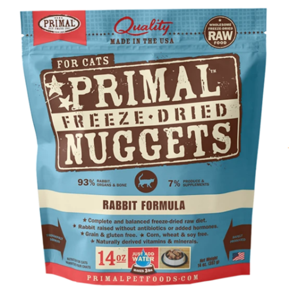 Primal Freeze Dried Cat Food, Rabbit, 14 oz bag