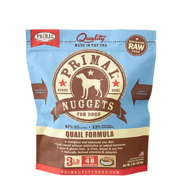 Primal Frozen Dog Food, Quail, 3 lb bag