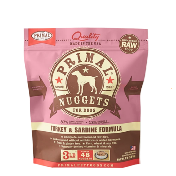 Primal Frozen Dog Food, Turkey & Sardine, 3 lb bag