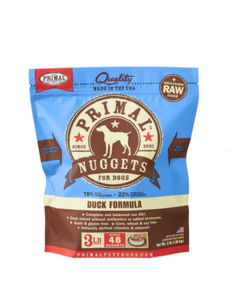 Primal Frozen Dog Food, Duck, 3 lb bag