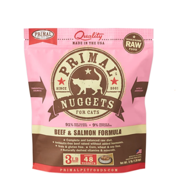Primal Frozen Cat Food, Beef & Salmon, 3 lb bag