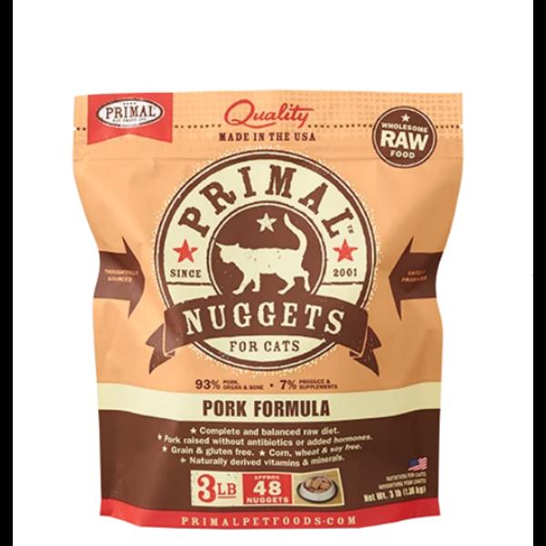 Primal Frozen Cat Food, Pork, 3 lb bag