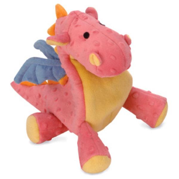 GoDog Large Dragon Dog Toy, Coral