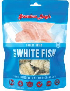 Grandma Lucy's Freeze-Dried Singles Ocean White Fish Treats, 3 oz bag