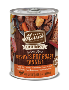 Merrick Canned Dog Food, Pappy's Pot Roast Dinner, 12.7 oz can