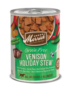 Merrick Canned Dog Food, Venison Holiday Stew, 13.2 oz can