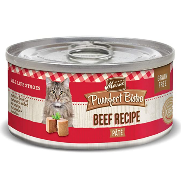 Merrick Purrfect Bistro Canned Cat Food, Beef Pate, 5.5 oz can