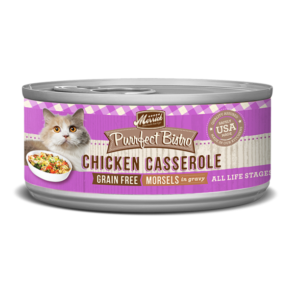 Merrick Purrfect Bistro Canned Cat Food, Chicken Casserole Morsels, 5.5 oz can