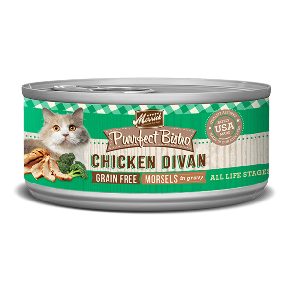 Merrick Purrfect Bistro Canned Cat Food, Chicken Divan Morsels, 5.5 oz can
