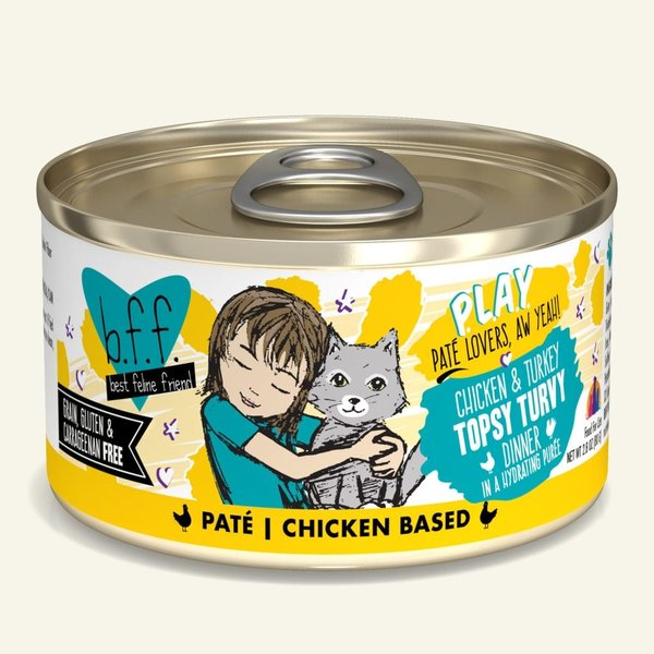 Weruva BFF Play Canned Cat Food, Topsy Turvy, 2.8 oz can