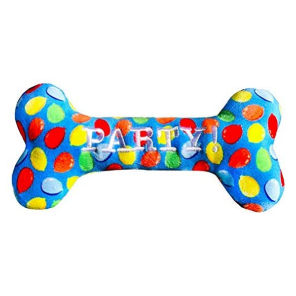 Huxley & Kent Party Time Blue Bone Dog Toy, Small