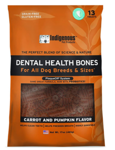 Indigenous Dental Health Bones Carrot & Pumpkin, 17 oz bag