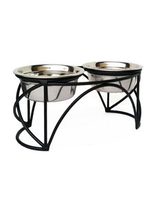 Pets Stop Arch Cross Double Diner, Medium, Black