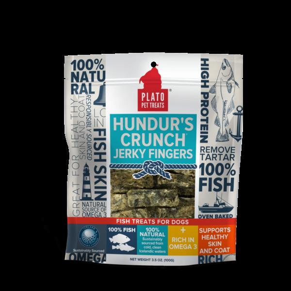 Plato Pet Treats Hundur's Crunch Jerky Fingers Fish Dog Treats, 3.5 oz bag