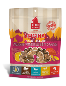 Plato Pet Treats Original Turkey & Sweet Potato Dog Treats, 12 oz bag