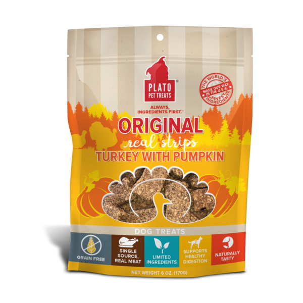 Plato Pet Treats Original Turkey & Pumpkin Dog Treats, 18 oz bag