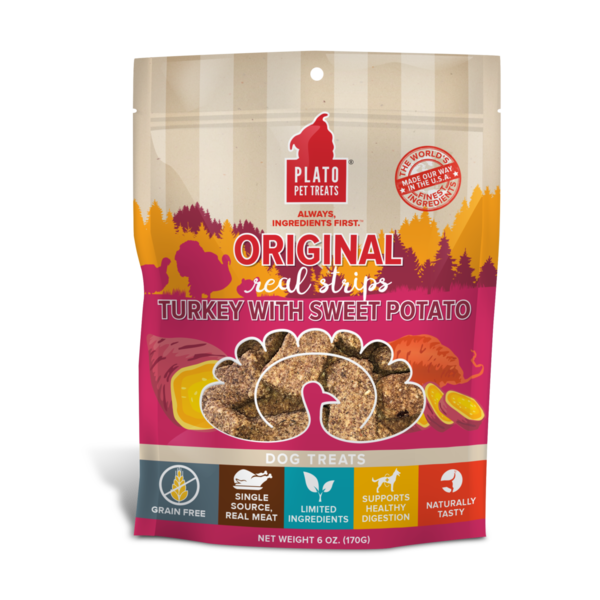 Plato Pet Treats Original Turkey & Sweet Potato Dog Treats, 18 oz bag