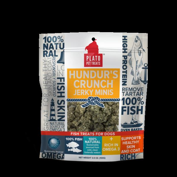 Plato Pet Treats Hundur's Crunch Jerky Minis Fish Dog Treats, 10 oz bag
