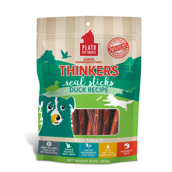 Plato Pet Treats Thinkers Duck Dog Treat, 10 oz bag