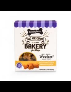 Three Dog Bakery Peanut Butter & Banana Wafers Baked Dog Treat, 13 oz box
