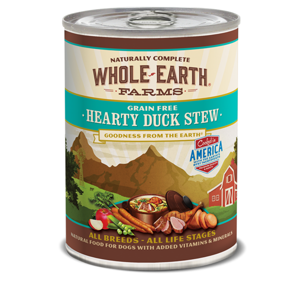 Whole Earth Farms Hearty Duck Stew Dog Canned Food, 12.7 oz can