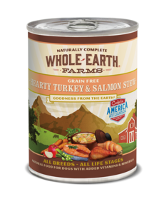 Whole Earth Farms Turkey & Salmon Stew Dog Canned Food, 12.7 oz can