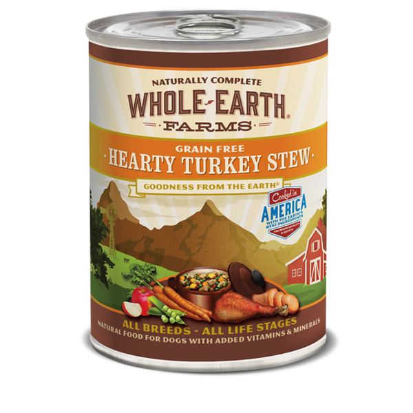 Whole Earth Farms Hearty Turkey Stew Dog Canned Food, 12.7 oz can