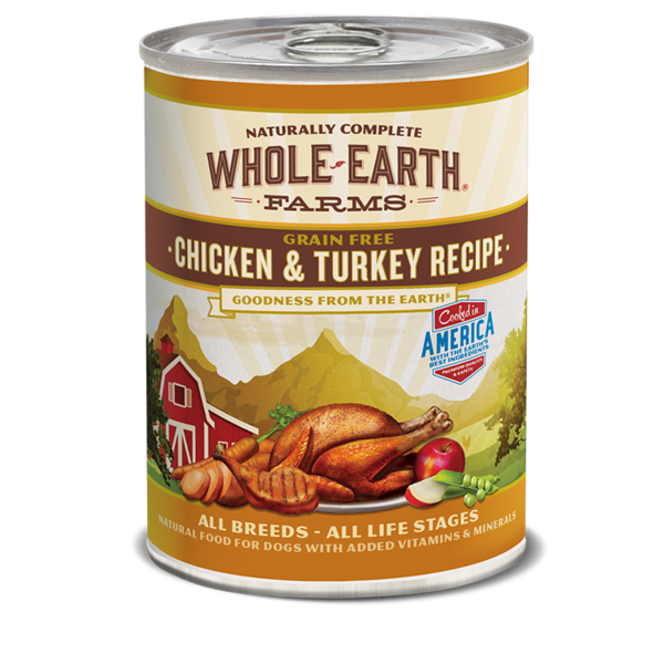Whole Earth Farms Chicken & Turkey Recipe Dog Canned Food, 12.7 oz can