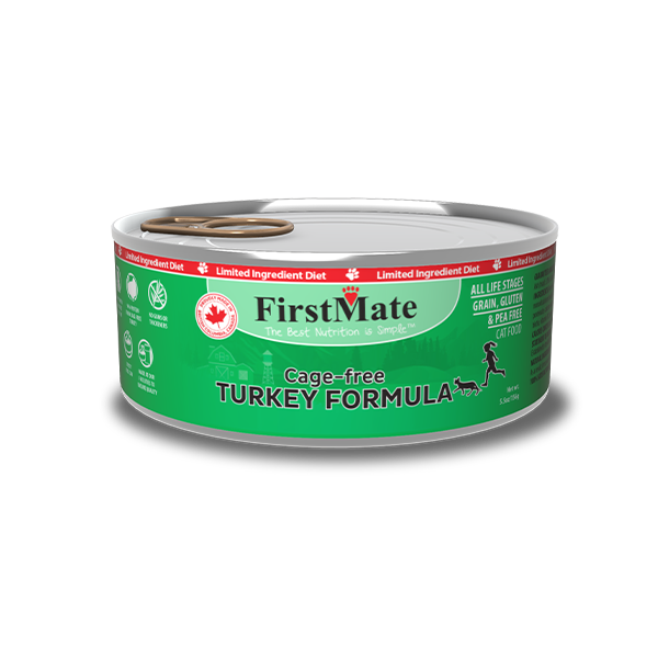 FirstMate Limited Ingredient Cage Free Turkey Cat Canned Food, 5.5 oz can