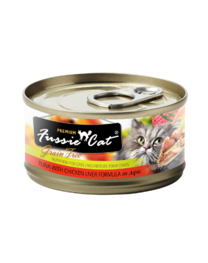 Fussie Cat Tuna with Chicken Liver Cat Canned Food, 2.82 oz can