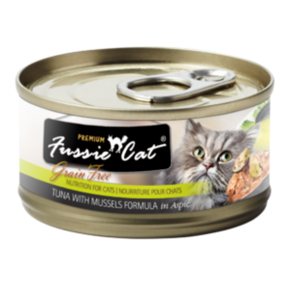 Fussie Cat Tuna with Mussels Canned Cat Food, 5.5 oz can