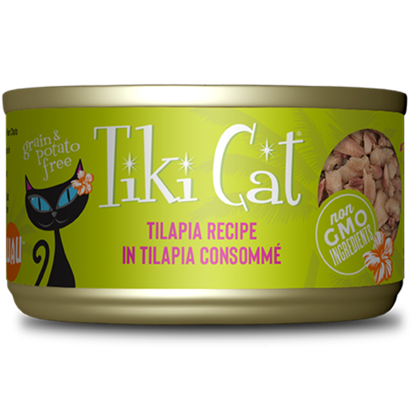 Tiki Kapi'Olani Luau Tilapia Canned Cat Food, 2.8 oz can