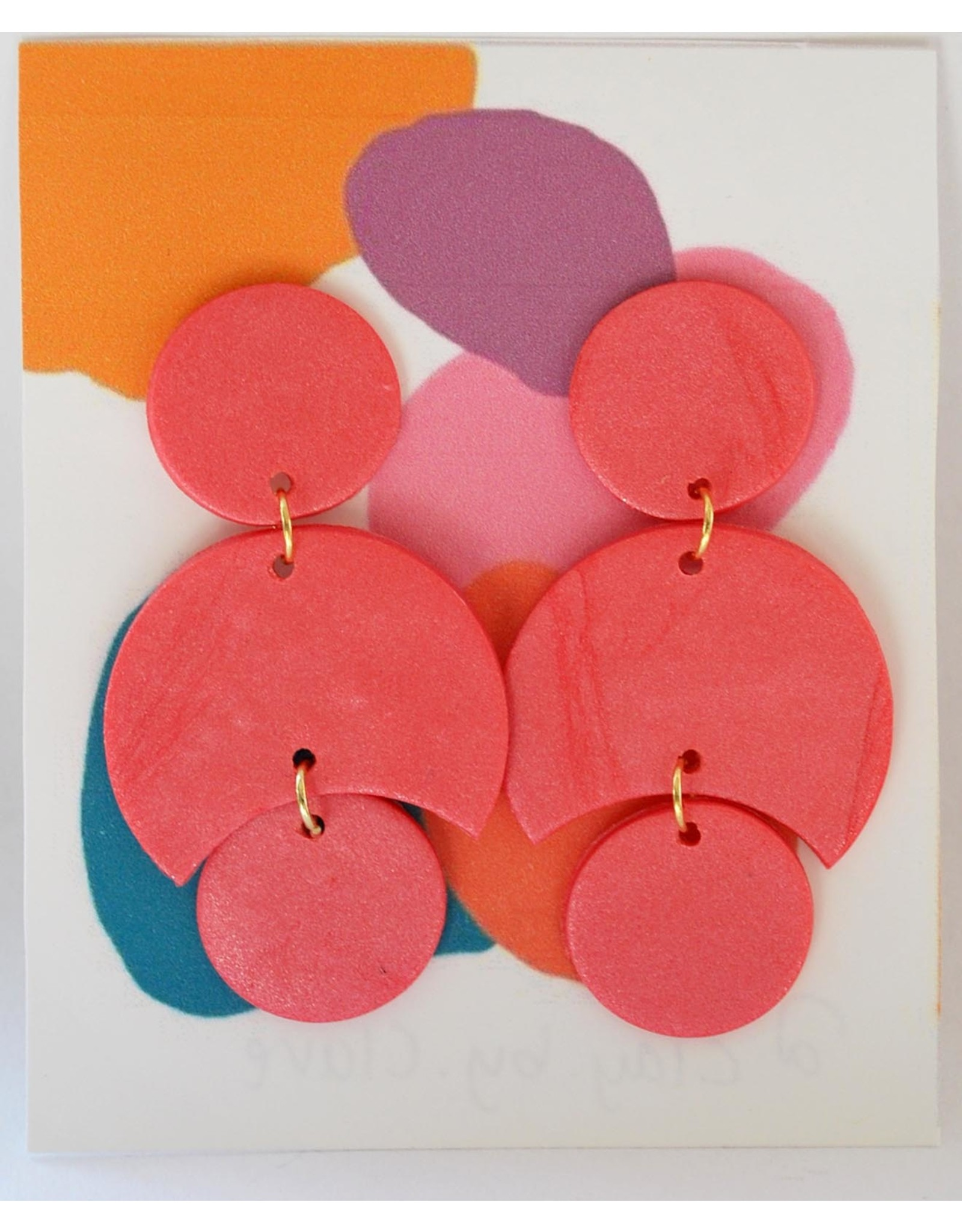 Salmon Pink Clay Earrings by Clare Cinelli