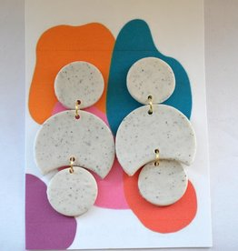 Speckled White Clay Earrings by Clare Cinelli