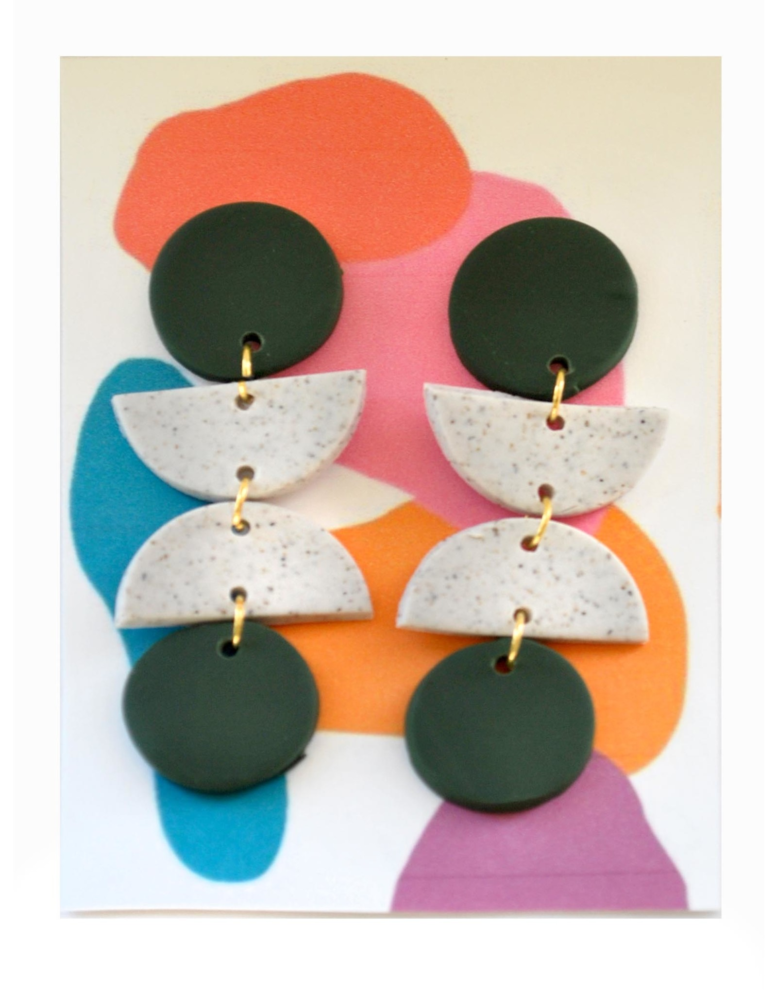 Speckled White and Black Clay Earrings by Clare Cinelli